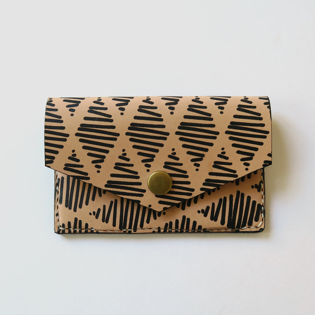 Hand-Stitched Leather Snap Wallet - Thalia