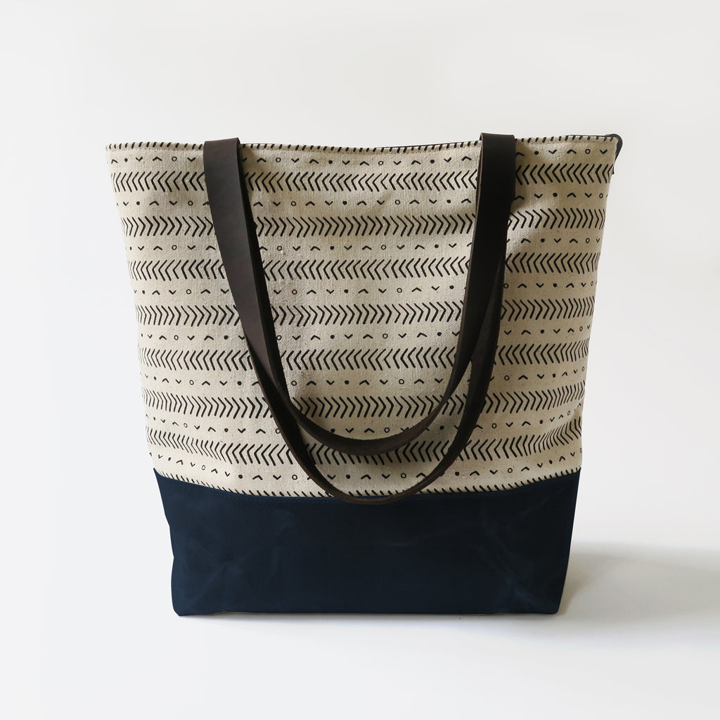 Canvas Tote Bag 'Coastal' White/Navy
