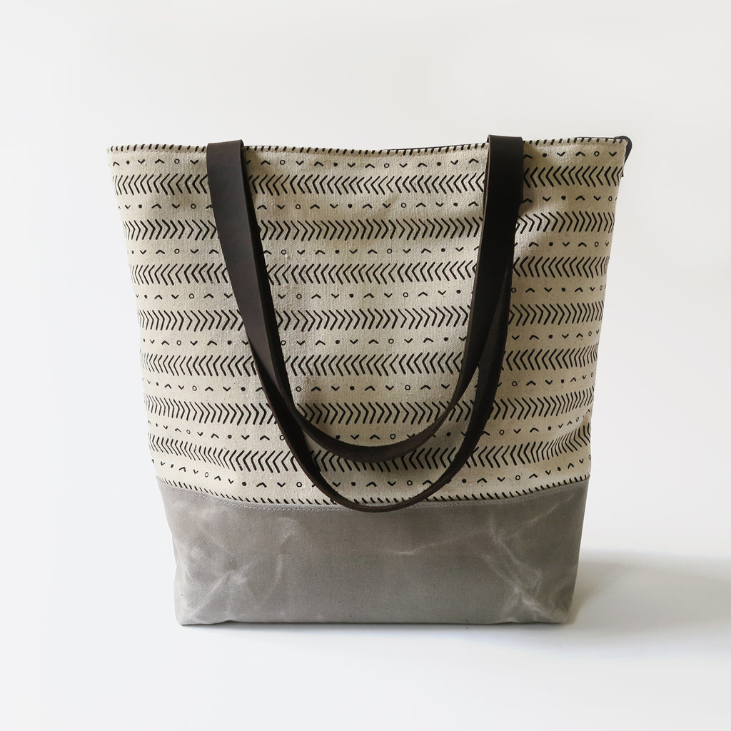 Canvas Tote Bag 'Coastal' White/Gray
