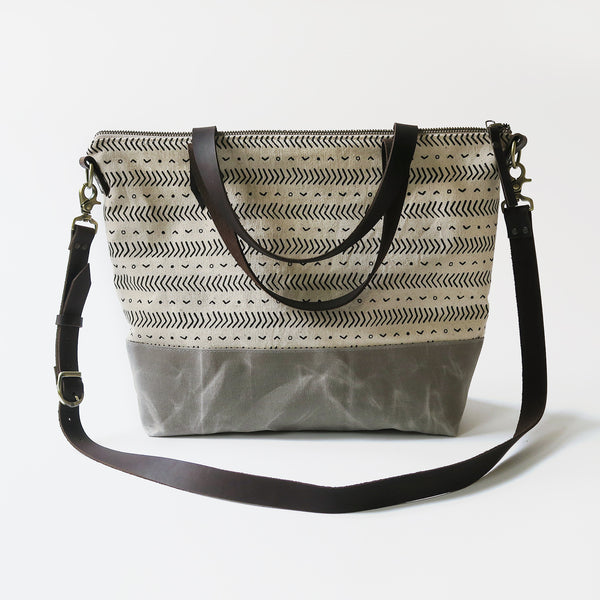 Crossbody Tote Bag 'Coastal' White/Gray
