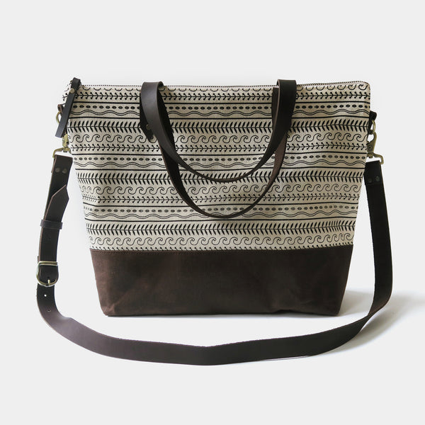 Crossbody Tote Bag 'Cypress' White/Brown