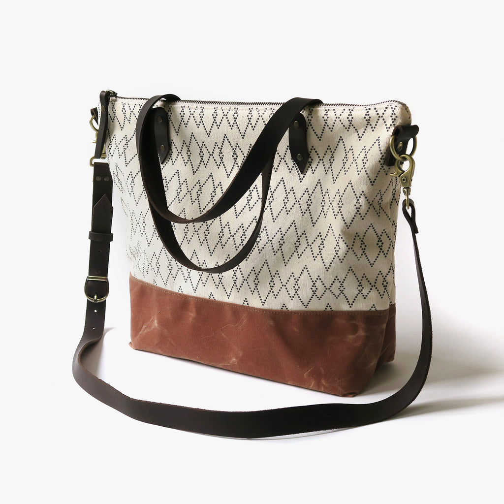 Crossbody Tote Bag 'Canyon' White/Tan