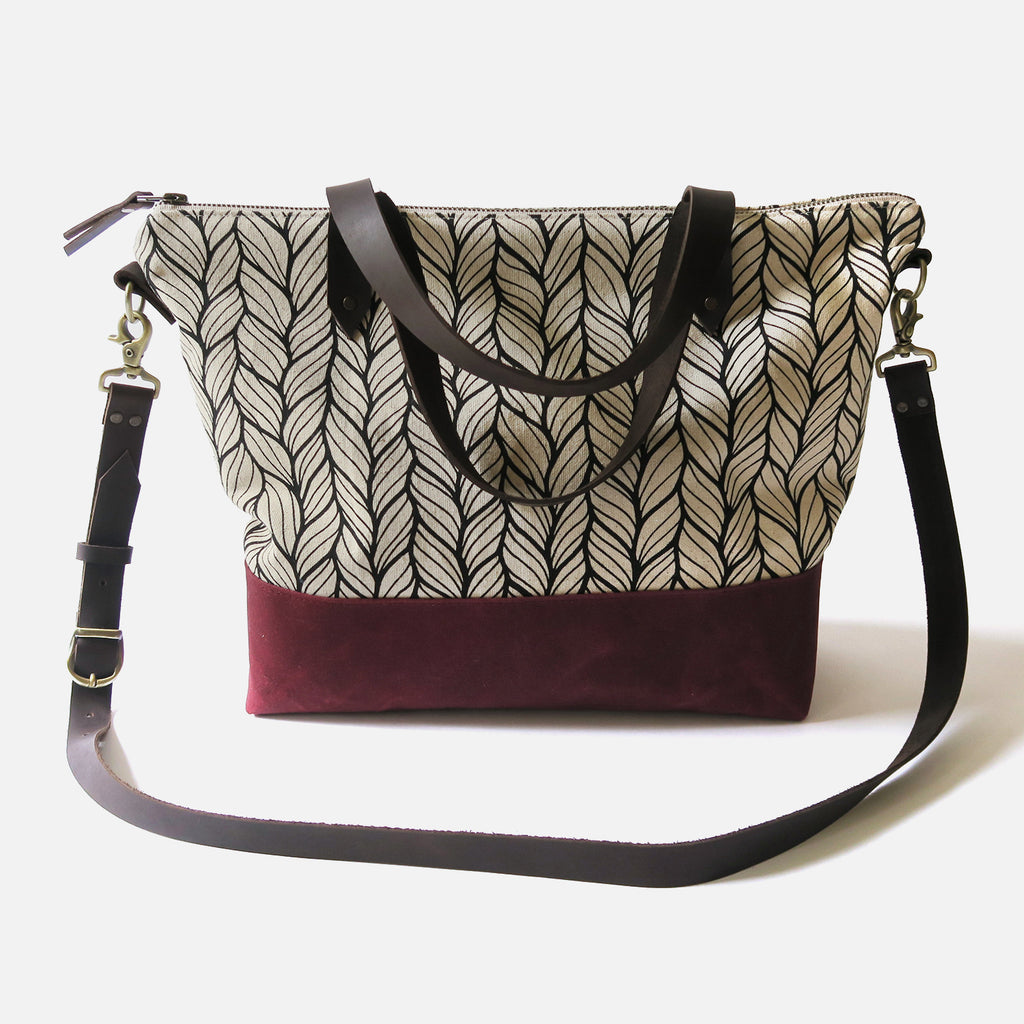 Crossbody Tote Bag 'Columbia' White/Burgundy