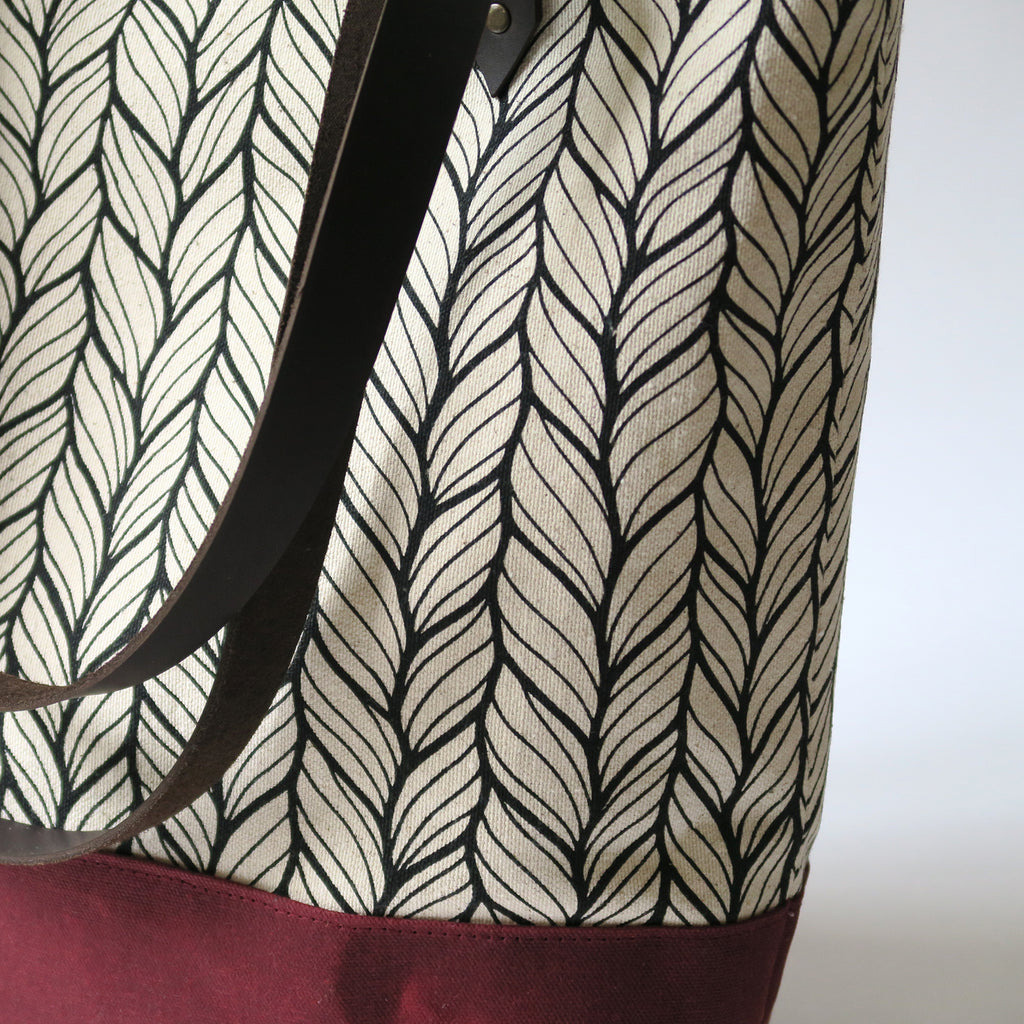 Canvas Tote Bag 'Columbia' White/Burgundy