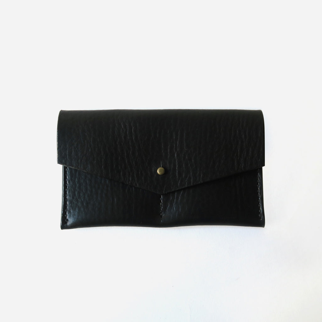 Hand-Stitched Leather Envelope Wallet in Black Pebbled