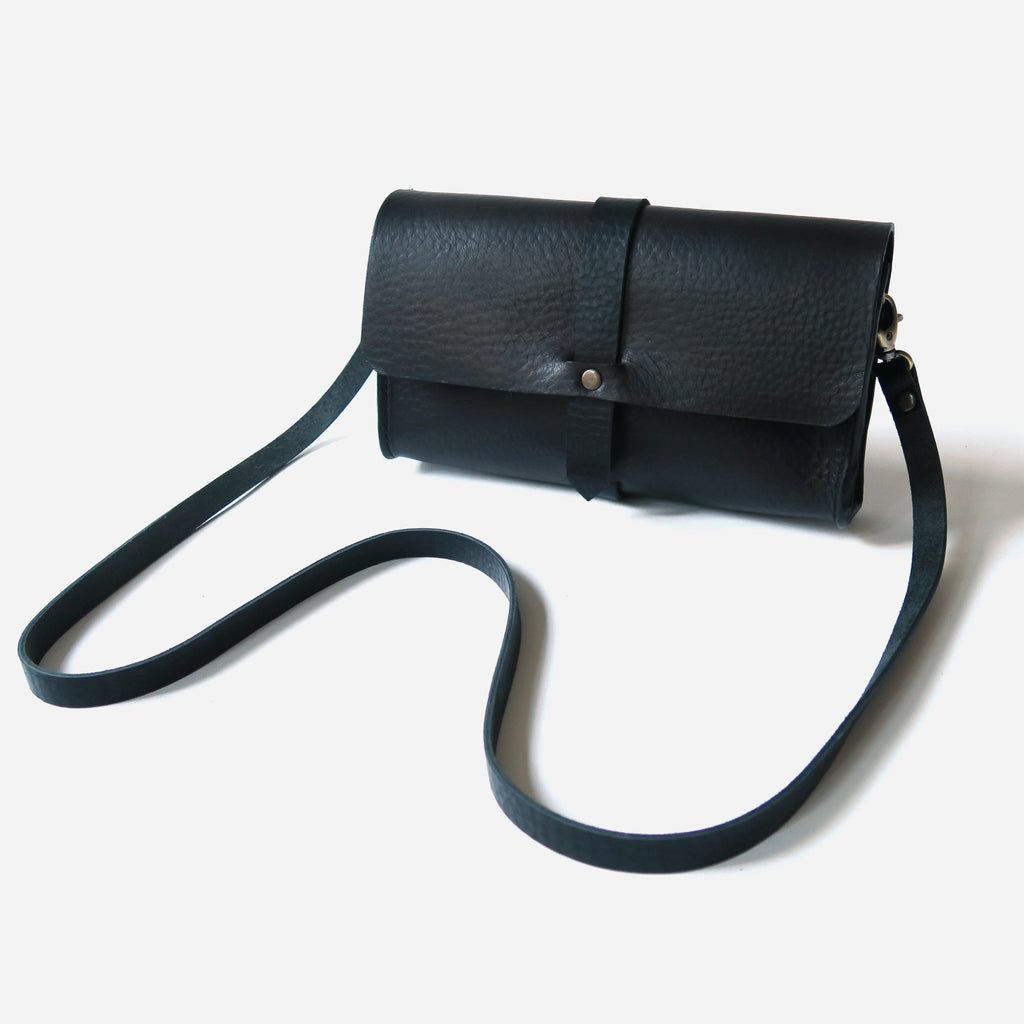 Mini Leather Snap Bag in Black Pebbled