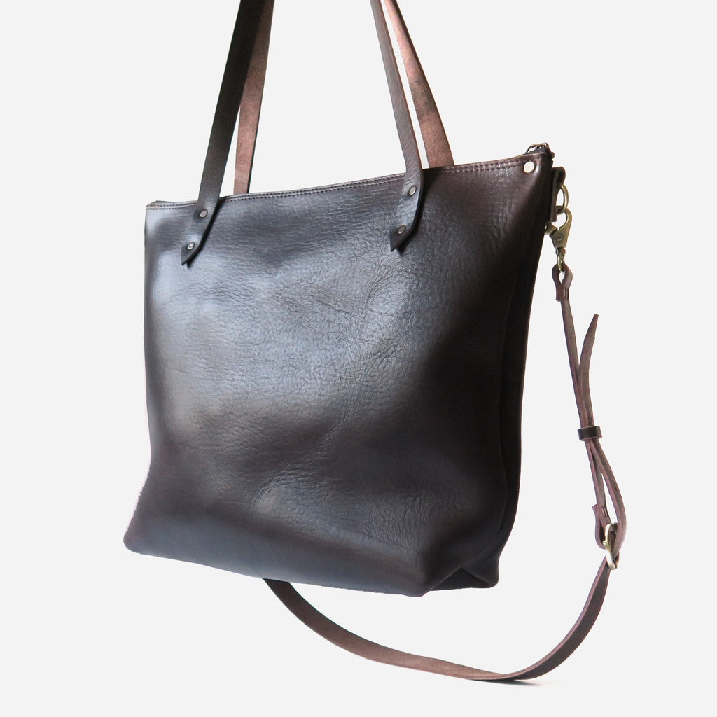 Leather Tote Bag with Crossbody Strap in Brown Pebbled
