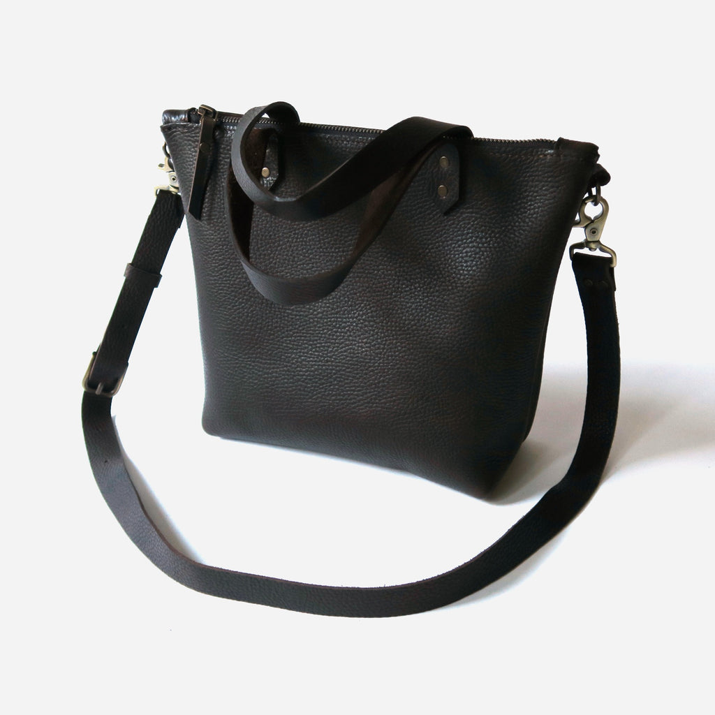 Pebbled Leather Mini Crossbody Bag in Brown
