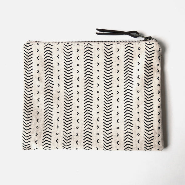 Large Zip Pouch 'Coastal' White/Black