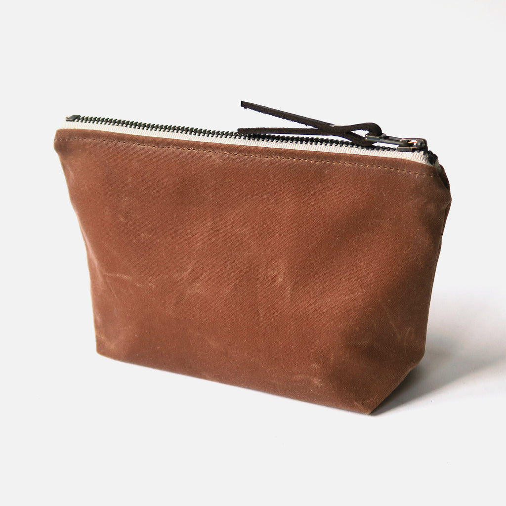 Waxed Canvas Wedge Zip Pouch in Tan