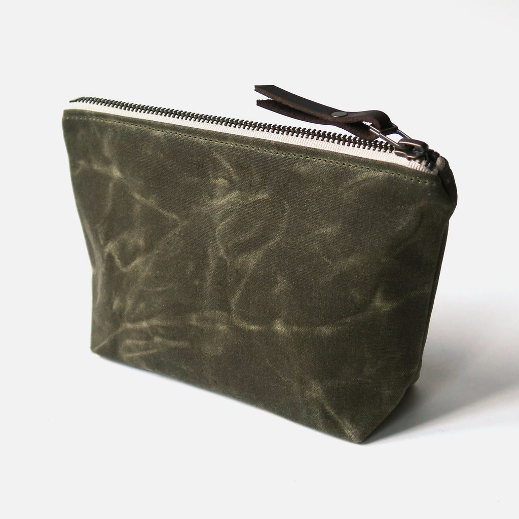 Waxed Canvas Wedge Zip Pouch in Olive