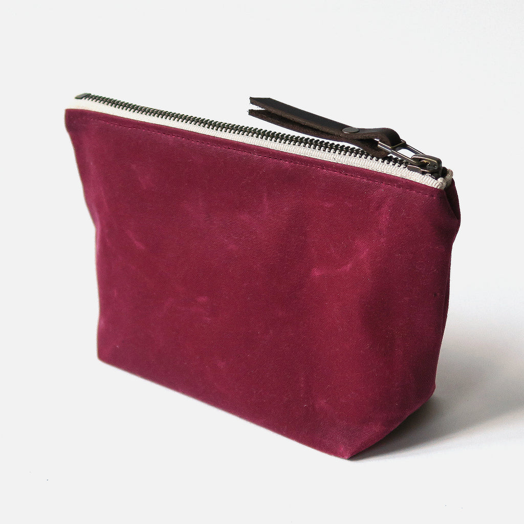 Waxed Canvas Wedge Zip Pouch in Burgundy
