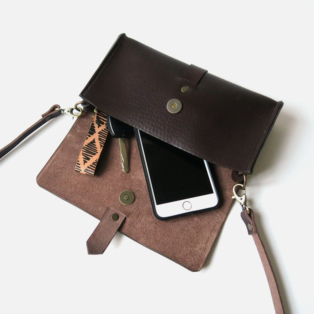 Mini Leather Snap Bag in Brown Pebbled