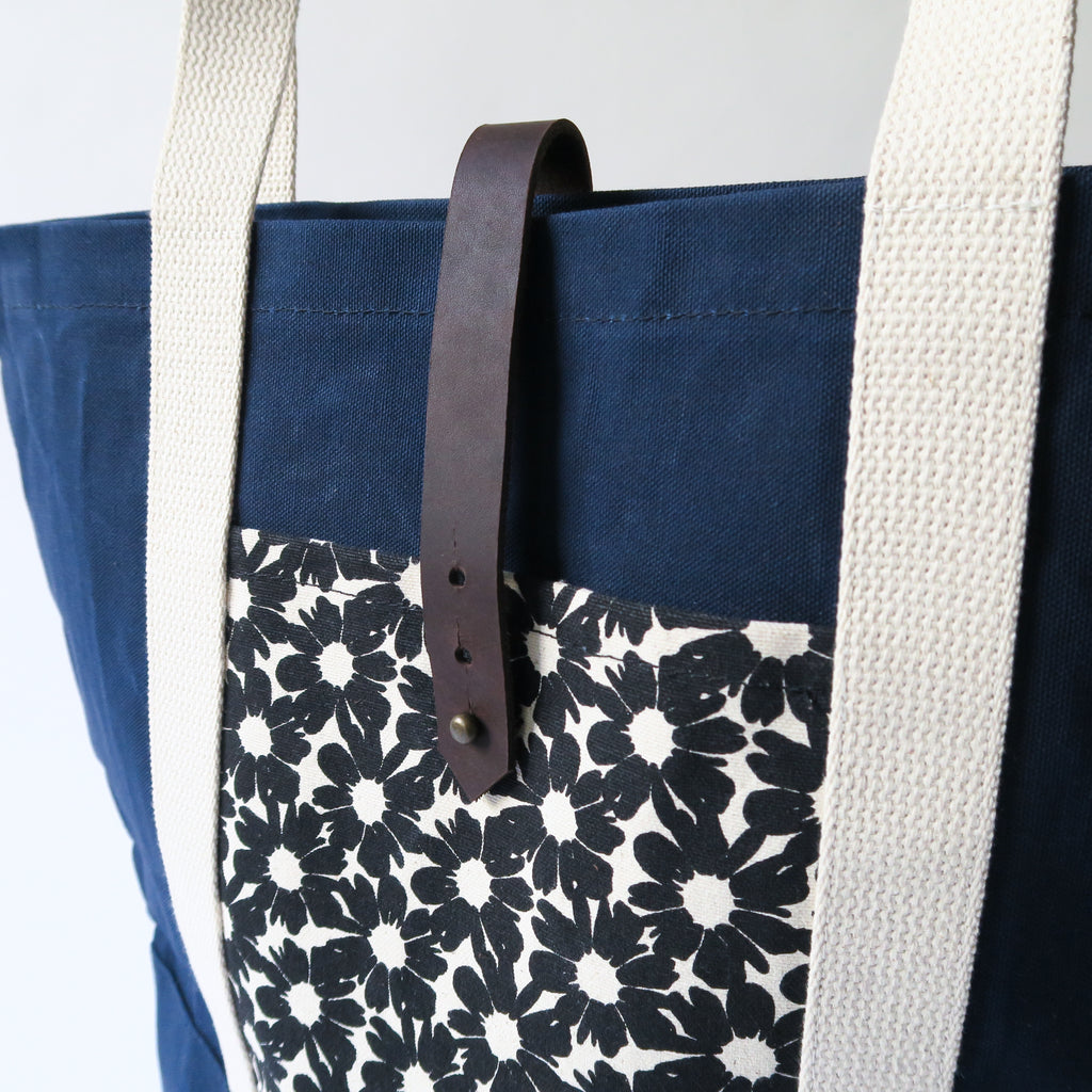 Waxed Canvas Print Panel Tote - 'Villa Flores' in Navy *Sample*