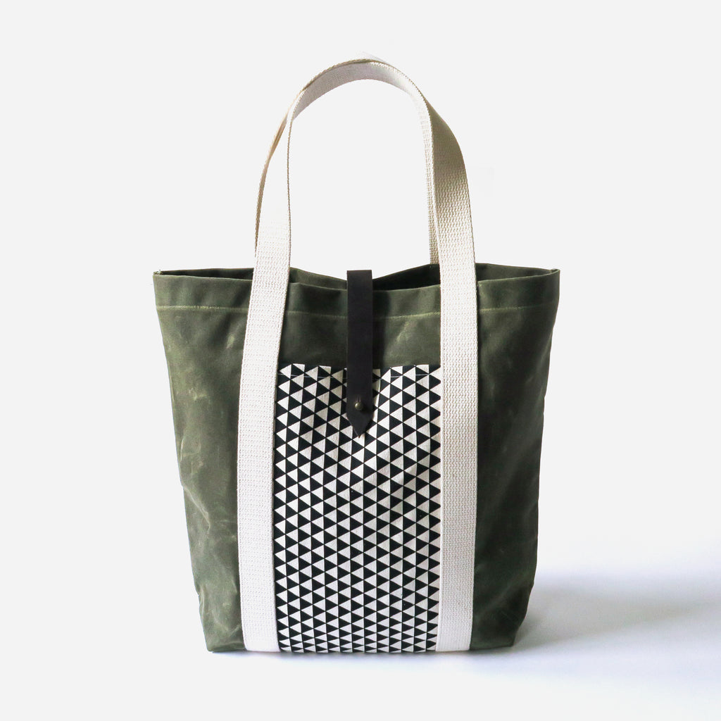 Waxed Canvas Print Panel Tote - 'Northbound' in Olive *Sample*