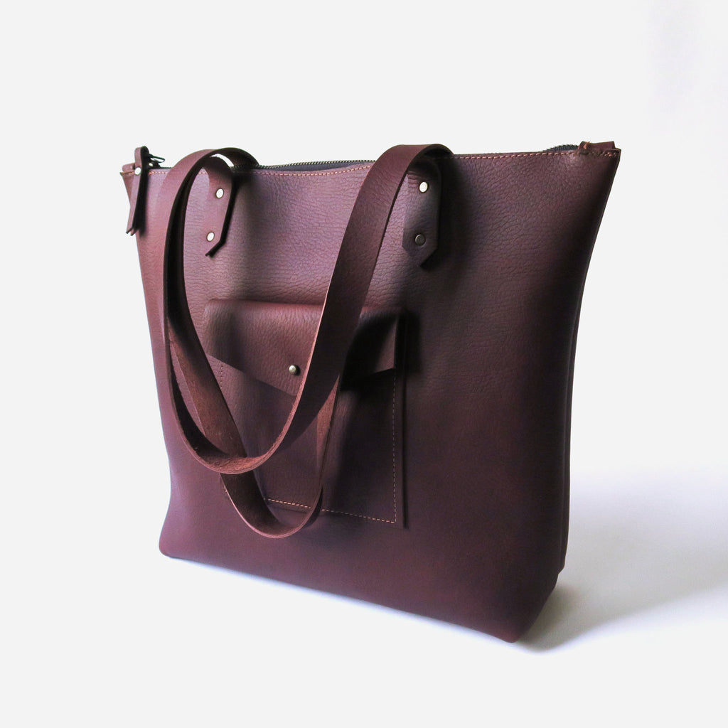 Leather Pocket Zip Tote Bag in Brown Pebbled *Sample*