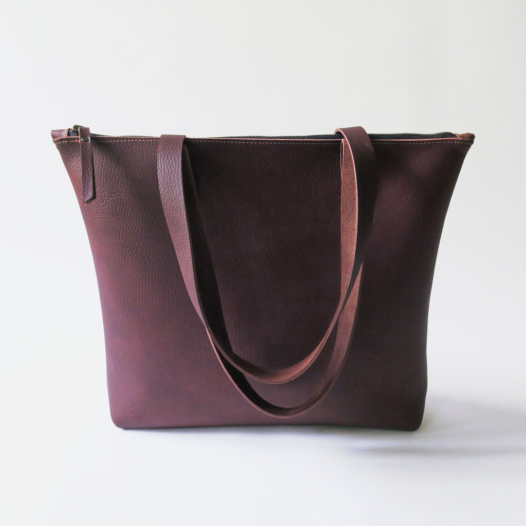 Leather Zip Tote Bag in Brown Pebbled *Sample*