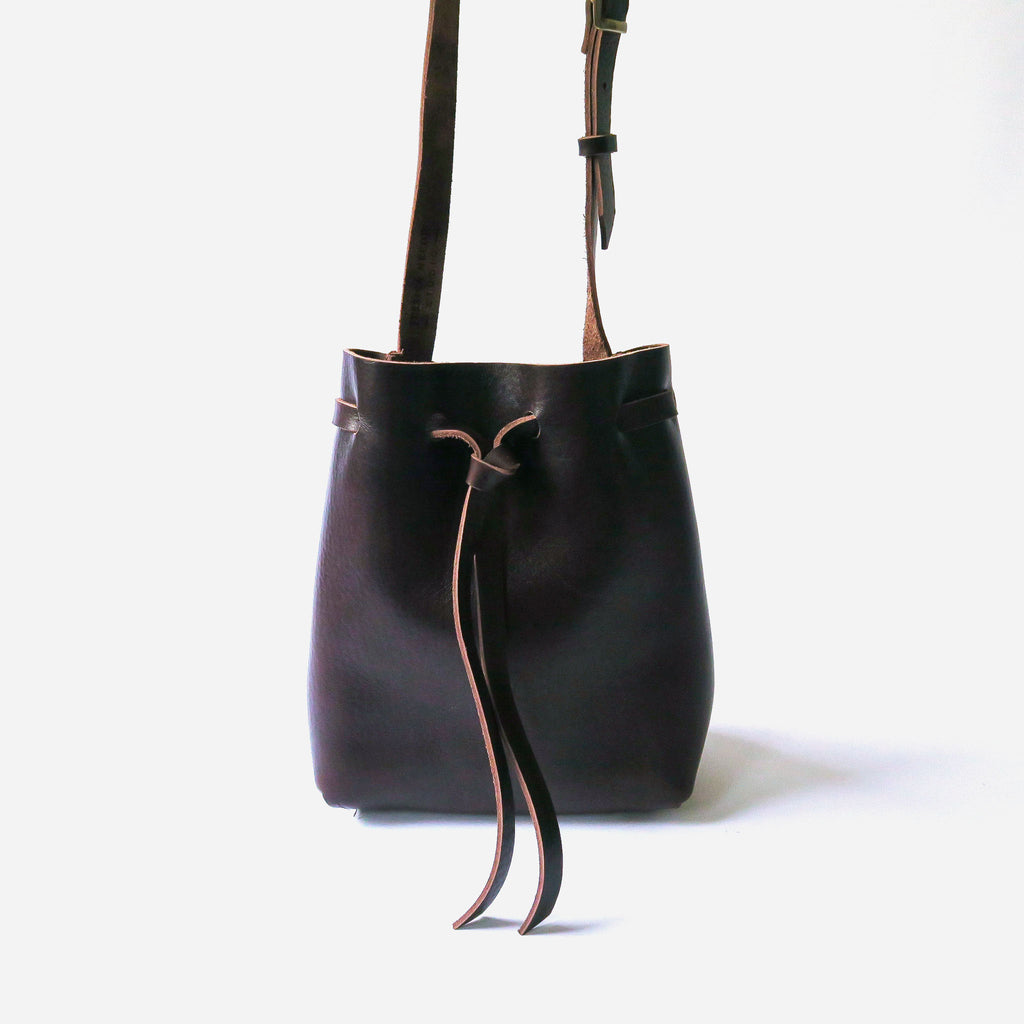 Leather Bucket Bag in Brown Pebbled