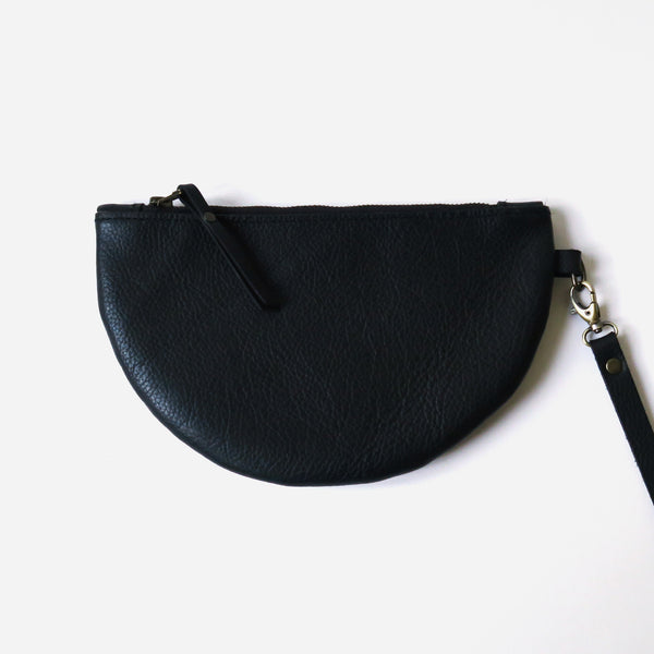 Half Moon Leather Wristlet Clutch in Black *Sample*