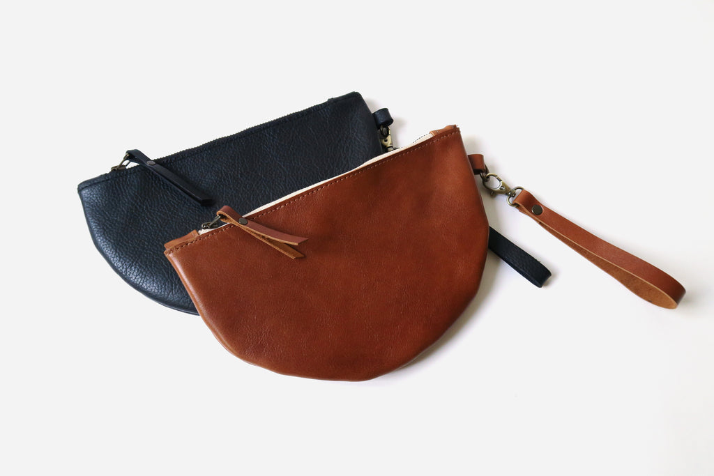 Half Moon Leather Wristlet Clutch in Cognac *Sample*