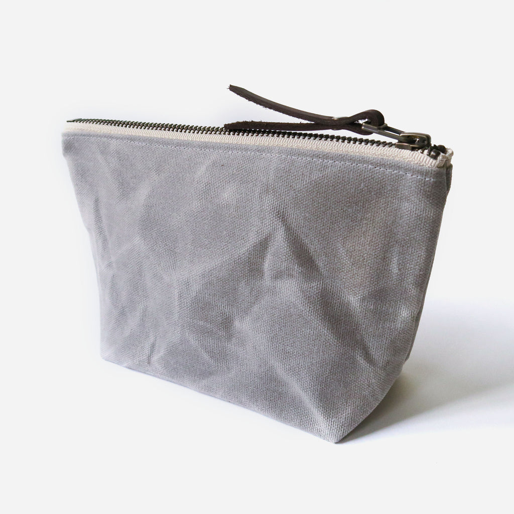 Waxed Canvas Wedge Zip Pouch in Gray