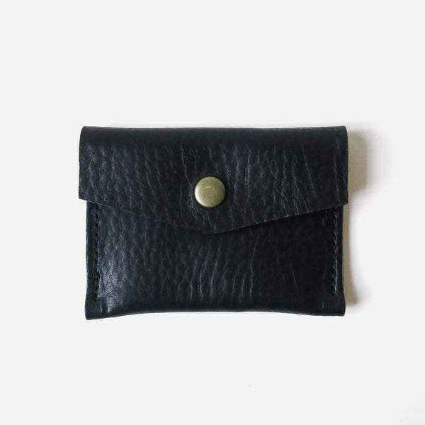 Leather Snap Card Case - Black Pebbled *Sample*