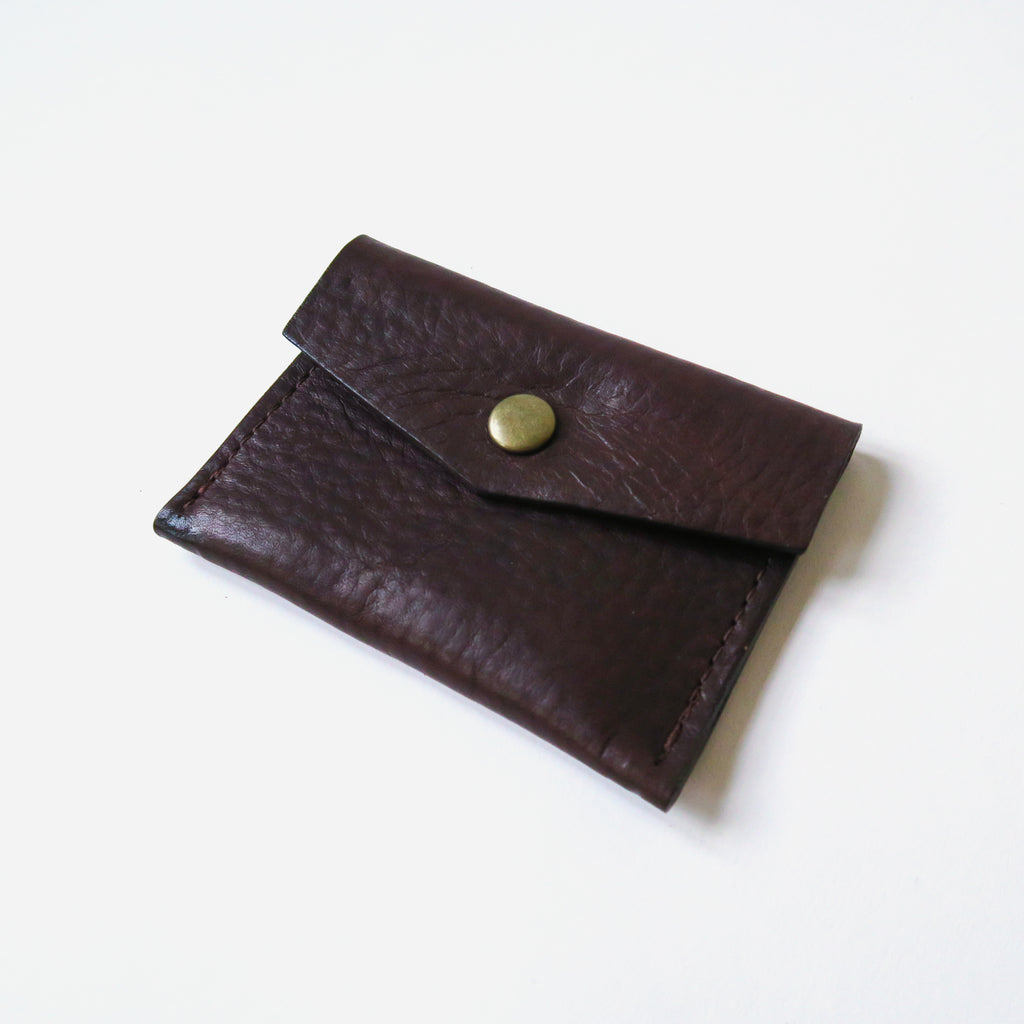 Leather Snap Card Case - Brown Pebbled *Sample*