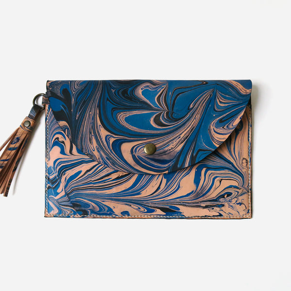 Marbled Leather Clutch *Sample*