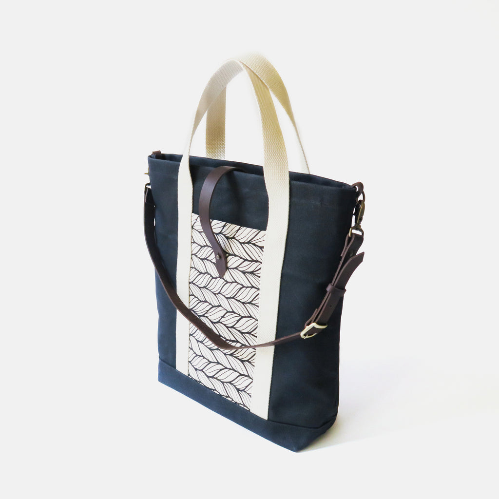 Waxed Canvas Print Panel Tote - 'Columbia' in Black