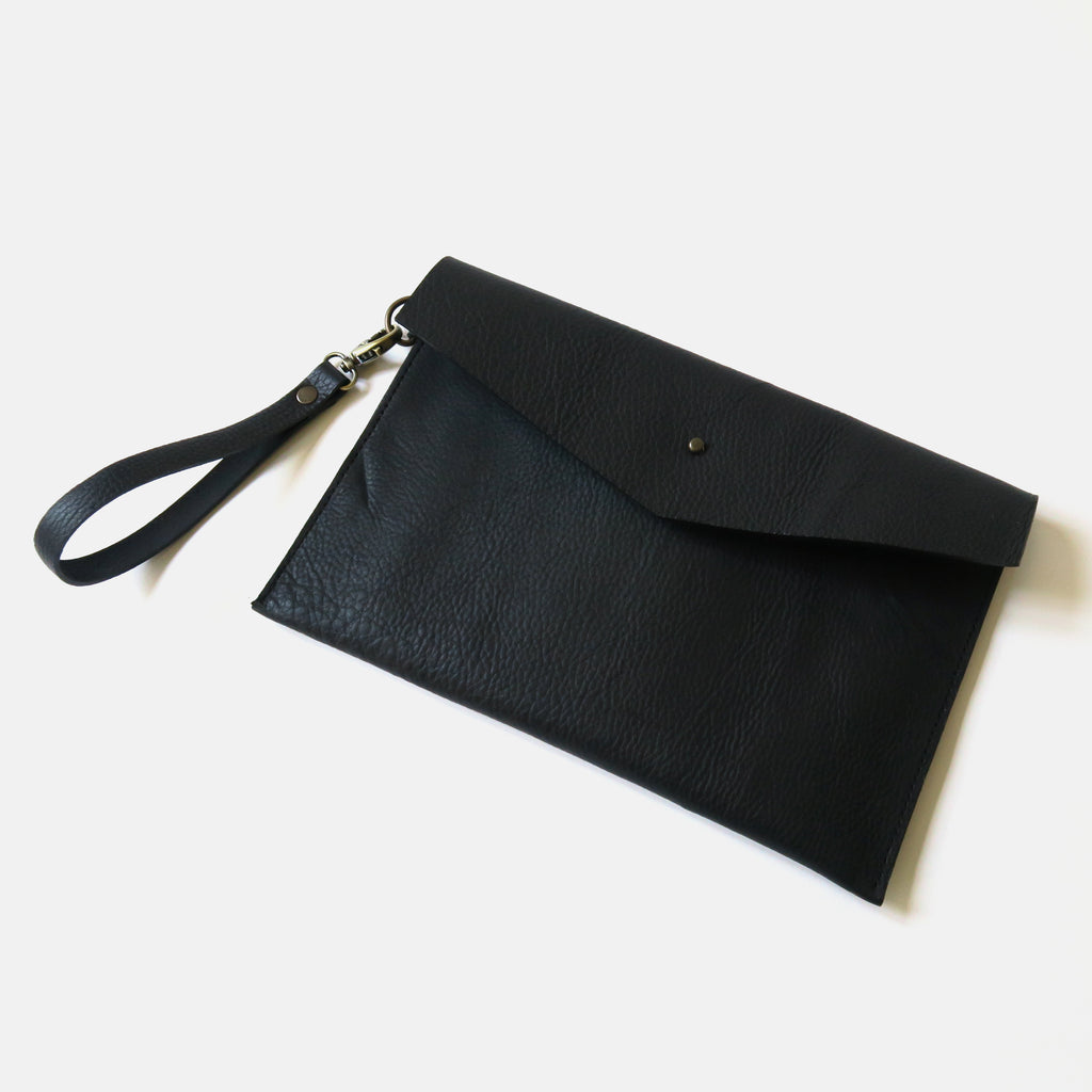 Leather Envelope Wristlet Clutch Large - Black Pebbled