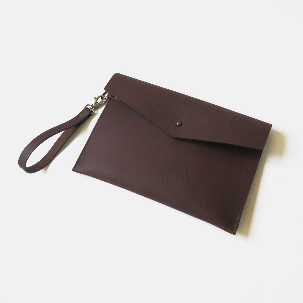 Leather Envelope Wristlet Clutch Large - Red Brown Pebbled