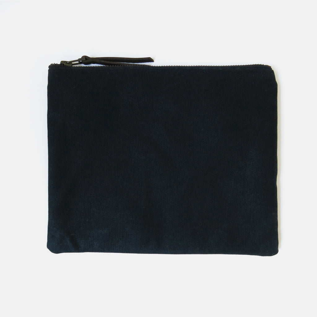 Large Waxed Canvas Zip Pouch in Black