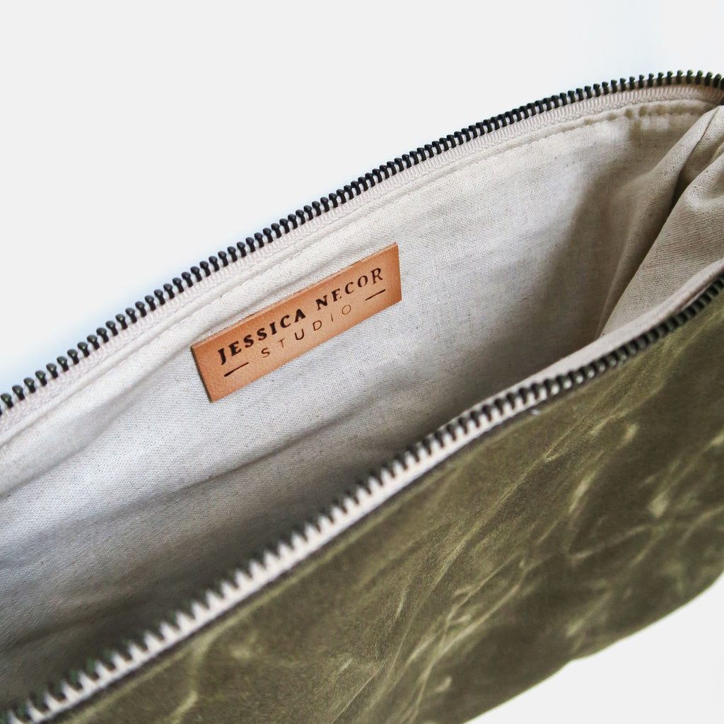 X-Large Waxed Canvas Zip Pouch in Olive