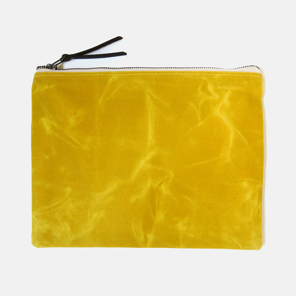 X-Large Waxed Canvas Zip Pouch in Yellow
