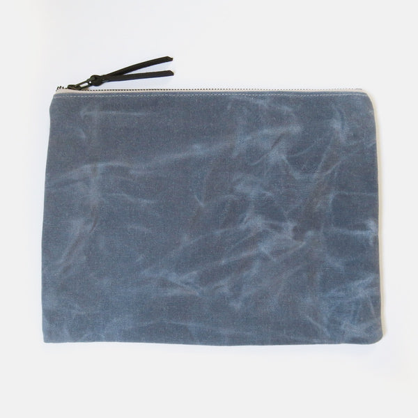 X-Large Waxed Canvas Zip Pouch in Gray