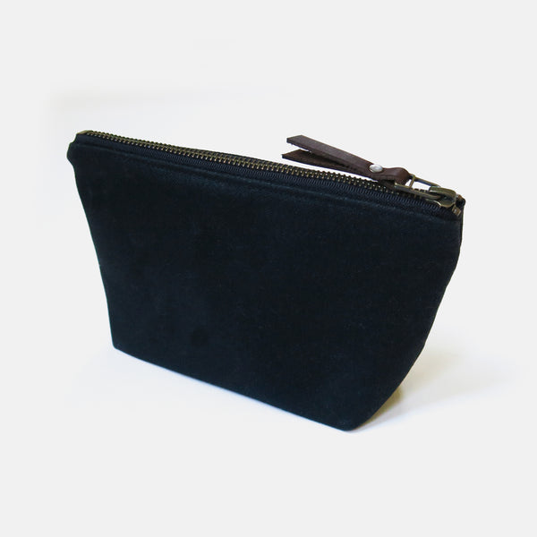 Waxed Canvas Wedge Zip Pouch in Black