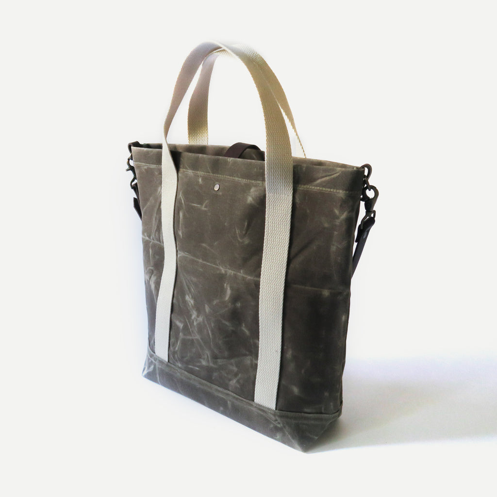 Waxed Canvas Print Panel Tote - 'Canyon' in Olive