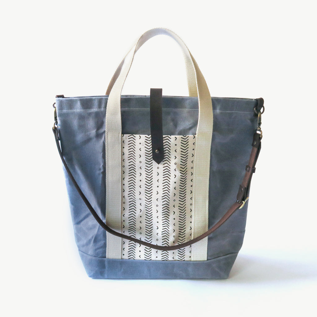 Waxed Canvas Print Panel Tote - 'Coastal' in Gray