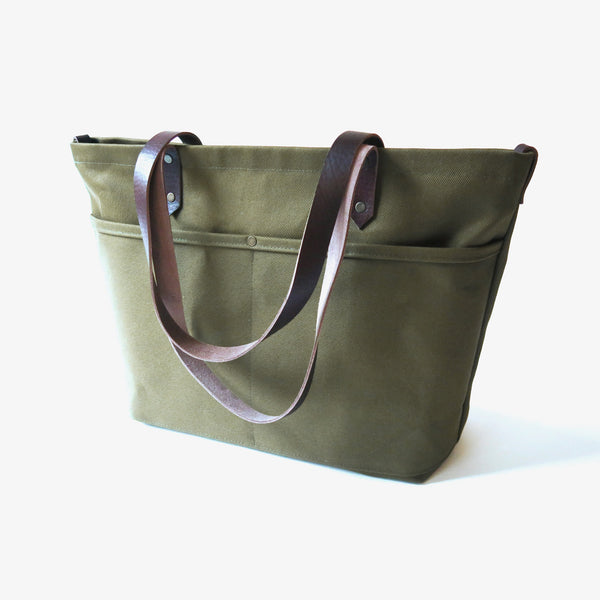 Olive Canvas Zip Tote Bag