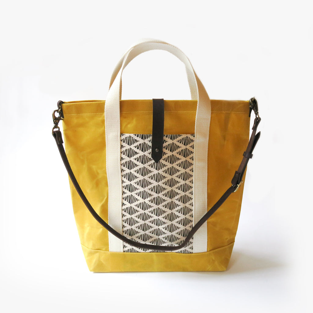 Waxed Canvas Print Panel Tote - 'Canyon' in Yellow