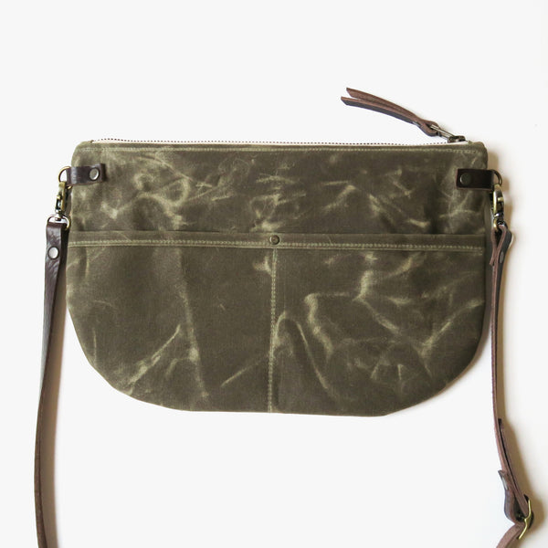 Waxed Canvas Crossbody Bag with Printed Lining in Olive