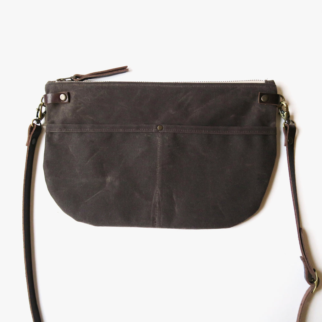 Waxed Canvas Crossbody Bag with Printed Lining in Brown