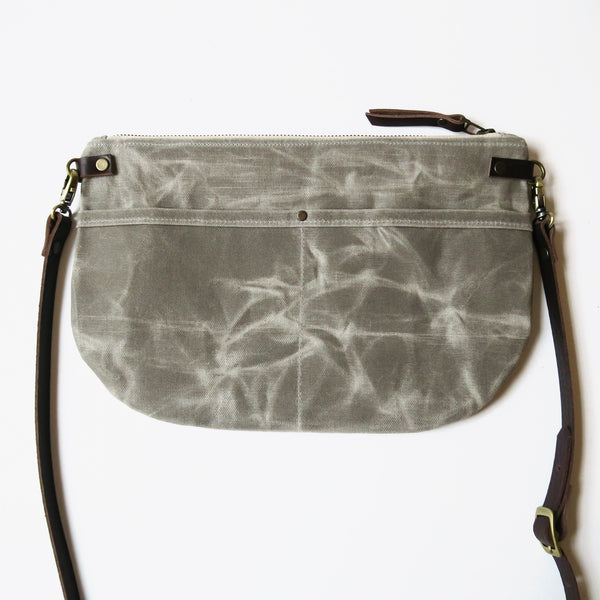 Waxed Canvas Crossbody Bag with Printed Lining in Gray