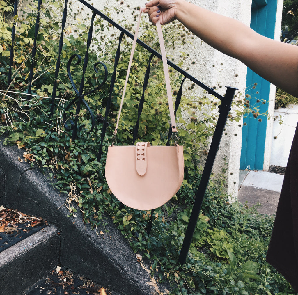 Hand-Stitched Leather Crossbody Bag in Veg Tan