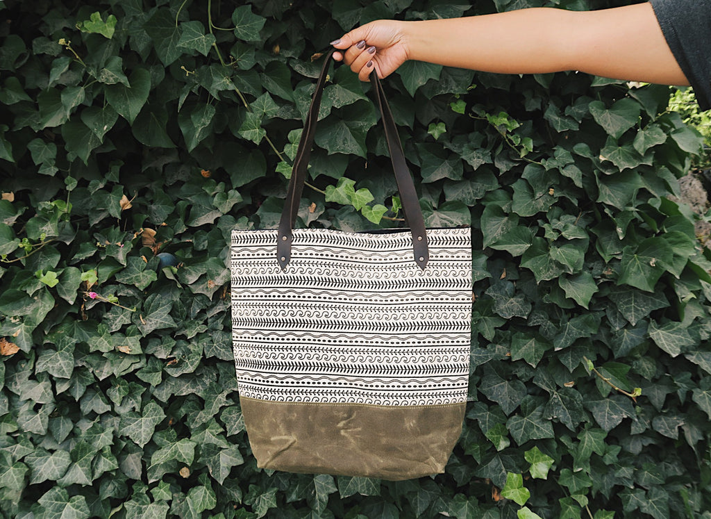 Canvas Tote Bag 'Cypress' White/Green