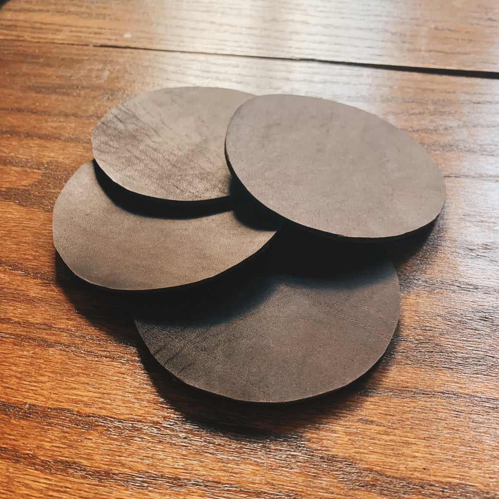 Set of 4 Brown Leather Coasters