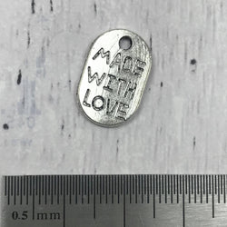 Silver Charm - Made with Love - Dog Tag