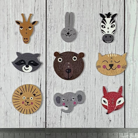 Single Buttons - Animal Faces - Printed