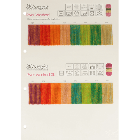 Scheepjes Riverwashed + Riverwashed XL (new colours)  - Shade Card