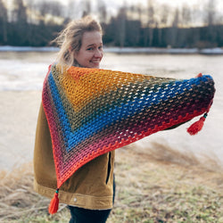 Yarnish Makes - Simple Granny Shawl by Shelby Bryon